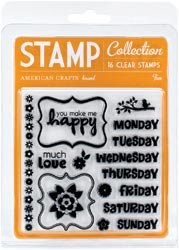 American Crafts Clear Acrylic Small Stamp Set Fun S59-096; 2 Items/Order