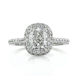 designer cushion cut halo engagement ring