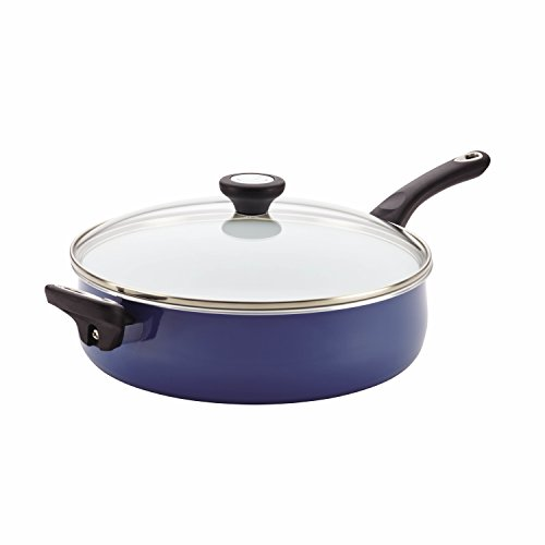 Farberware Purecook Ceramic Nonstick Cookware Covered Jumbo Cooker with Helper Handle, 5 quart, Blue (Farberware Covered Saute Pan compare prices)