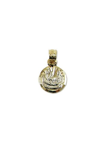 14k Yellow and White Gold, Baptism Christening Pendant Charm 10mm Wide