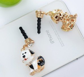Dust Plug- Earphone Jack Accessories Lovely Black Dog/ Cell Charms / Ear Jack for Iphone 4 4s / Ipad / Ipod Touch / Other 3.5mm Ear Jack (With Cutely Gift Box)---------FREE SHIPPING From NY-----