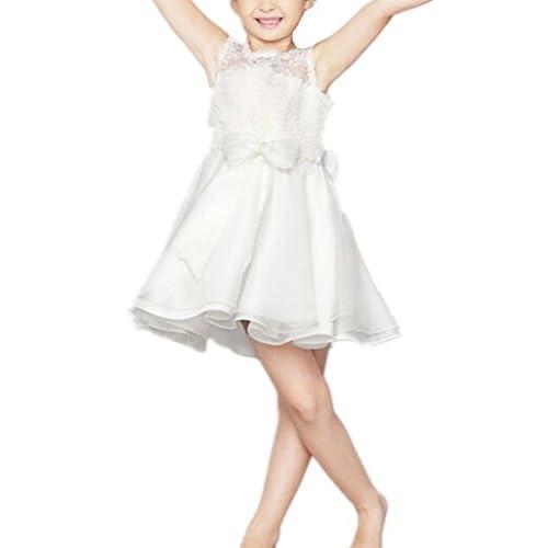 (ケイヨウ) JinYangガールズ 子供服 発表会 結婚式 二次会 レース 蝶結び ワンピース フォーマル ドレス ホワイト 100