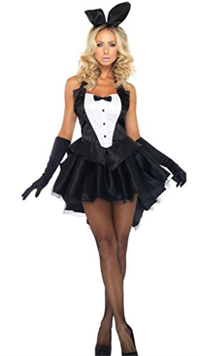 Nicewishes Women's 3 Piece Tux and Tails Bunny Tuxedo Costume