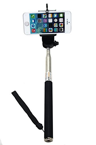 Telescopic Handheld Monopod Pole With Tripod Adapter For Gopro Hero 1, 2, 3- Black (With Mobile Phone Clip)