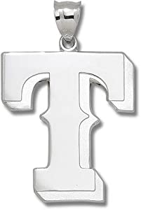 Texas Rangers T Giant Silver Pendant by Logo Art