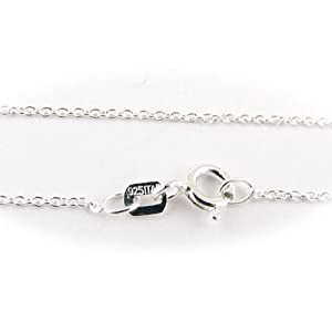 Sterling Silver Fine Cable Nickel Free Chain Necklace for Child Italy 14 Inch