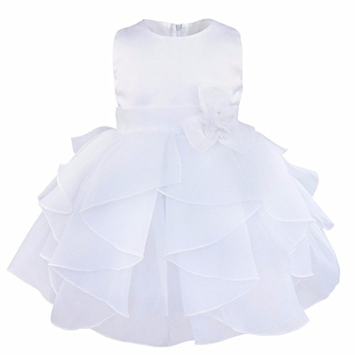 FEESHOW Baby Girls Organza Ruffle Wedding Party Christening Baptism Flower Dress White 9-12 Months