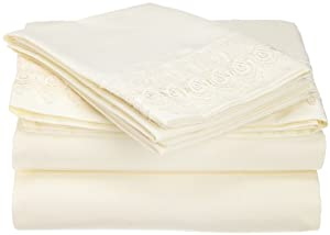Cathay Home Venice Lace 4-Piece Full Size Sheet Set, Constructed of Microfine Twill Weave in Highest Quality, Ivory Color