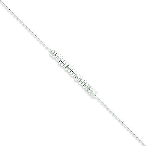 Sterling Silver 9 inchch Polished Fancy Love Ring Anklet: Length 9 in
