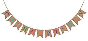 """Oh Happy Day"" Burlap Banner - Rustic Party Decorations for Birthday, Baby Shower and Wedding from Sterling James Company"