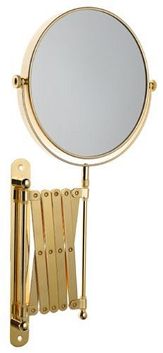"""Danielle 8"""" Two-Sided Swivel Wall Mount Mirror, With 6X Magnification, 20-Inch Extension; Gold Plated"""