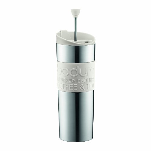 Bodum Insulated Stainless-Steel Travel French Press Coffee and Tea Mug, 0.45-Liter, 15-Ounce, White