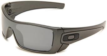 Oakley Men's Batwolf Polarized Rectangular Sunglasses,Granite Frame/Black Iridium Lens,one size