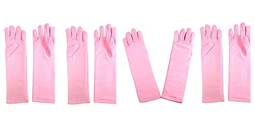 Girls-Tea-Party-Stretch-Polyester-Long-Dress-Gloves-Set-of-4-Pink-Childrens
