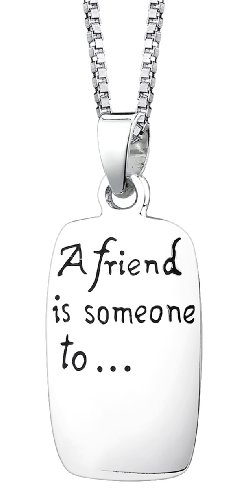 """Sterling Silver """"A Friend Is Someone To, Dream, Cry, Sing, Laugh with """" Reversible Pendant Necklace, 18"""""""