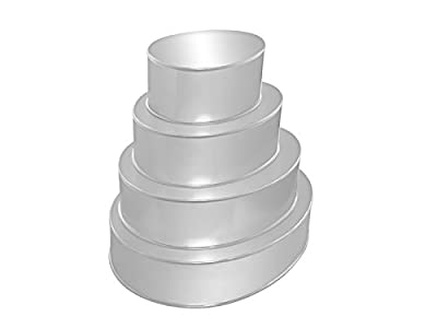 "4 Tier Oval Multilayer Birthday Wedding Anniversary Cake Tins Pans 6"" 8"" 10 "" 12"""