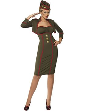 Retro Army Girl Adult Costume-Large