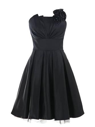 Landybridal A-line Knee Length Satin Bridesmaid Dress E22464 L Black