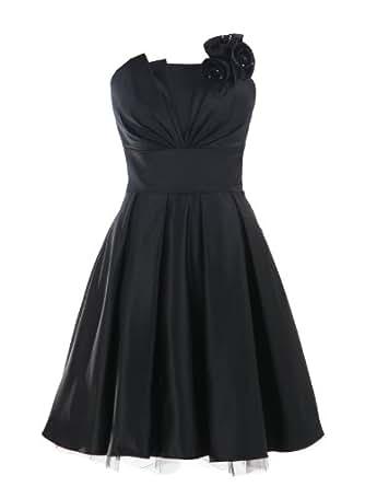 LandyBridal Women's Strapless Pleated Flower Satin Formal Dress Black XXS