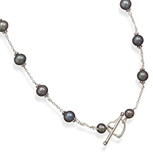 Sterling Silver 16 Inch Peacock Cultured Freshwater Pearl Heart Toggle Necklace - JewelryWeb