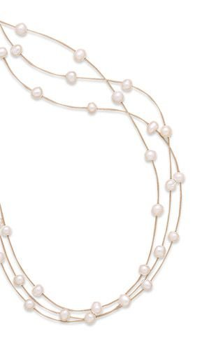 16 Inch Triple Strand White Cultured Freshwater Pearl Illusion Necklace