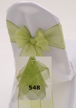 MDS 100 Organza Chair Cover Bow Sash Wedding Banquet Decor apple green