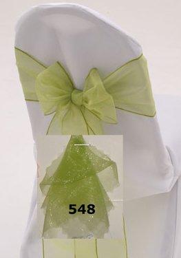 MDS 100 Organza Chair Cover Bow Sash Wedding Banquet Decor apple green