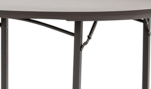 """ZOWN Commercial 60445PRM1E 60"""" Round Heavy Duty Blow Mold Banquet Folding Table, Brown (300 lb. Use Rate)"""