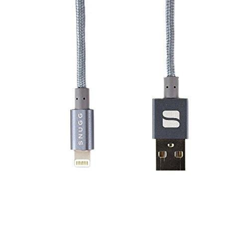 Cavo Lightning, Snugg Apple iPhone USB Lightning Nylon Corto Caricabatterie [Certificato MFI Apple] [1m - 3.3 ft] Per iPad / iPod / iPhone 7 / 6 / 6s / 5 / 5s / 5c / SE / 4s - Space Grey