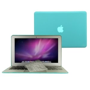 #1  TopCase® 2 in 1 HOT BLUE Crystal See Thru Hard Case Cover And Transparent TPU Keyboard Cover for Macbook Air 11