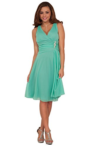 Sleeveless V Neck Rhinestone Sheer Layer Bridesmaid Party Cocktail Short Dress