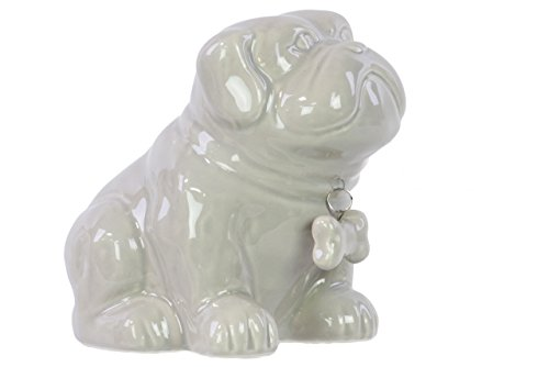 Urban Trends Ceramic Sitting Bulldog Puppy Coin Bank with Bone Pendant on Dog Collar, Gloss Gray