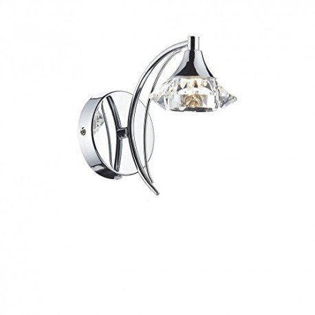LUTHER 1 Light Chrome Wall Bracket with Crystal Glass