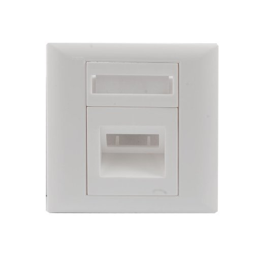 water-wood-one-socket-sc-fiber-optic-jumper-cable-plastic-wall-plate-panel-white