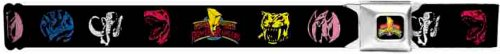 Power Rangers Seatbelt Belt - Mighty Morphin Yellow, Blue, Red, & Pink Head Dinosaurs