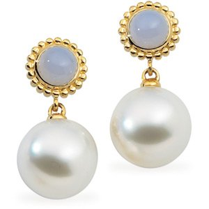 18k S. Sea Cult. Pearl Chalcedony Earring 6mm 12mm Near - JewelryWeb