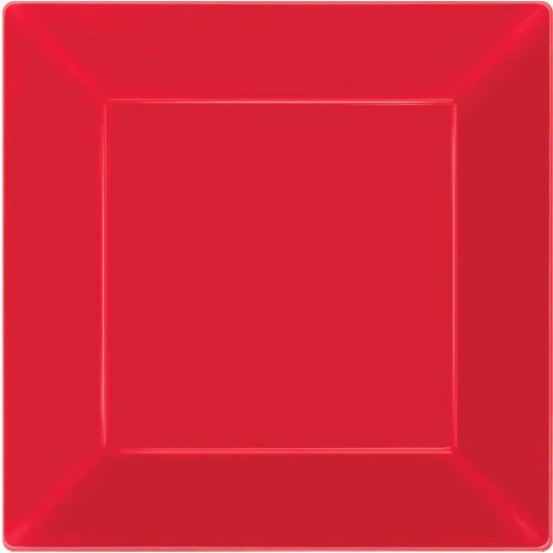 plate 8 inches pl square red