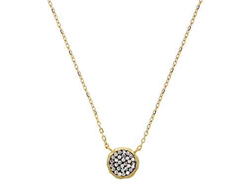 925 Sterling Silver Gold Plated Satin Finish Pave Cz Disk Necklace 16