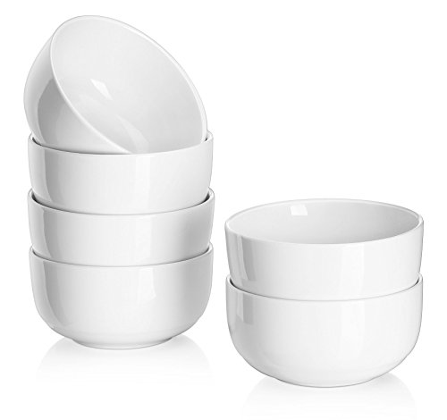 Dowan 10OZ Dessert Bowls/Rice Bowl Set,4.1-inch Soup/Cereal/Pasta/Snack Bowl for Portion Control,FDA Approved & Double-insulated,White,Set of 6 (Soup Bowls Set compare prices)
