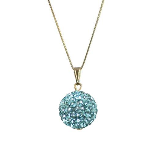 Tarantella Aquamarine Diamante 14ct Gold Vermeil Pendant Necklace