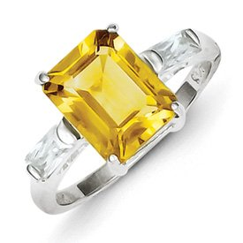 Genuine IceCarats Designer Jewelry Gift Sterling Silver Citrine Ring Size 8.00