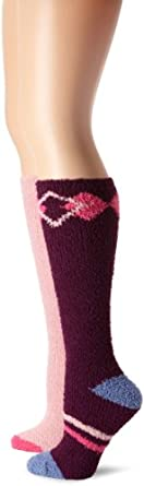 Modern Heritage Women's Argyle And Solid Cozy Knee High 2 Pair Sock Pack, Passion, One Size