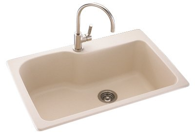 Swaoi|#Swanstone KS03322SB.035 22-In X 33-In Solid Surface Kitchen Sink 1-Hole, Arctic Granite,