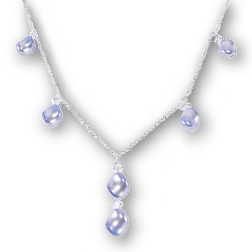 Blue Wave Pearl Necklace Sterling Silver with SWAROVSKI ELEMENTS Crystal Pearls