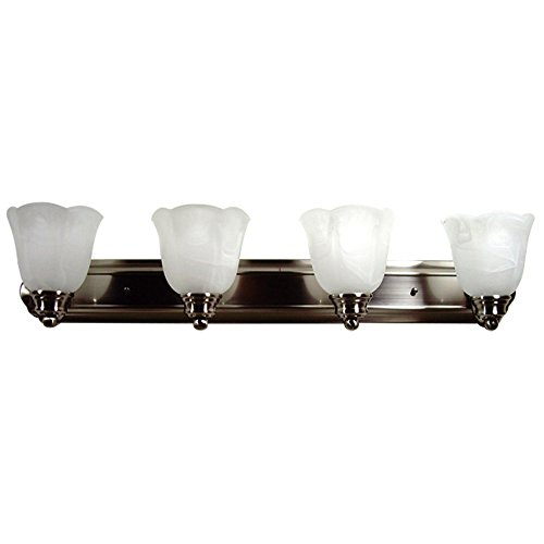 Yosemite Home Decor 92194Sn Mahogany Bathroom Vanity With White Marble Shades, 4-Light, Satin Nickel