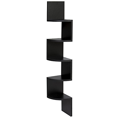 Keepfit Corner Shelf 5 Tier Corner Wall Mount Storage Shelves Floating Side Zig Zag Bookshelf for Home Decoration ,Décor display (Black)