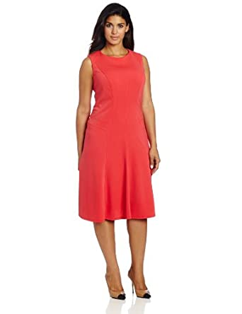 Anne Klein Women's Plus-Size Cool Ponte Hourglass Swing Dress, Coral