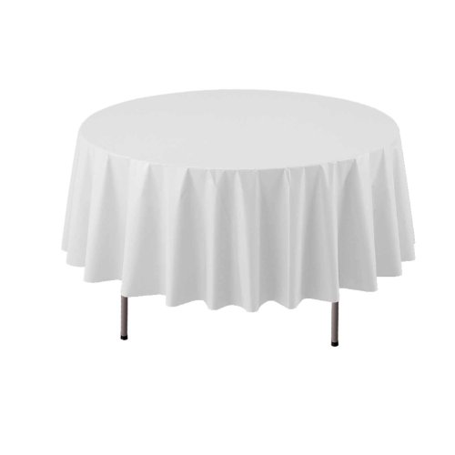 "Party Essentials ValuMost Round Plastic Table Cover, 84"", White"