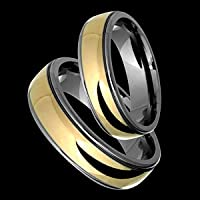 Jaha - size 5.75 Classic Titanium Wedding Band Set with 14kt. Yellow Gold Center