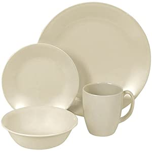 Corelle Livingware Sandstone 16-Piece Dinnerware Set, Service for 4